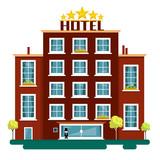 Vector Flat Design Hotel Illustration Isolated on White Background. Hotels. - 191010537