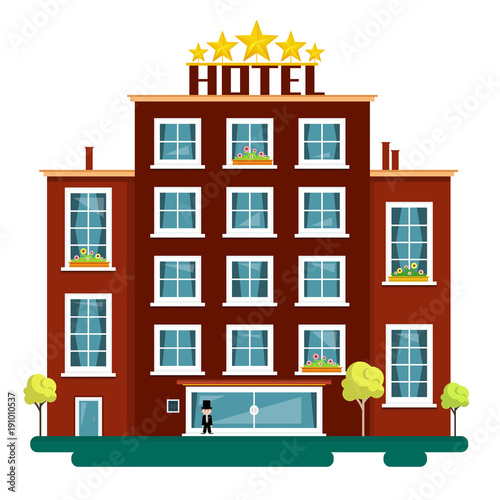 Vector Flat Design Hotel Illustration Isolated on White Background. Hotels.