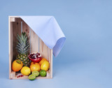 Shot of various fruit in wooden crate . - 191012376