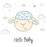 Vector cards for Baby Shower with cute sheep . Hello baby. - 191019726