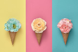 Ice Cream Cone Set with Flowers. Trendy fashion Style. Spring Summer Floral concept. Creative Minimal. Colorful Pastel Design. Pop Art