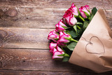 Bouquet of red roses on wooden background -  Low Key - 191022325