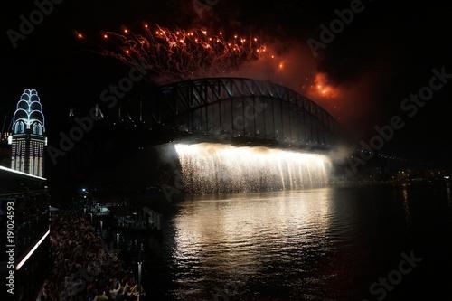 Fotobehang Sydney NYE Sydney Australia 2017 2018 Fireworks bridge luna park