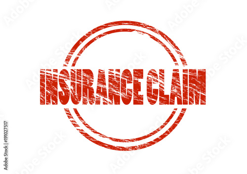 insurance claim red vintage rubber stamp isolated on white background