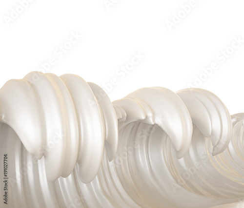 Sea of milk, splash of milk on a white background, natural, yogurt, sour cream, thick, liquid, paint, clipping path. 3d ..illustration, 3d rendering.
