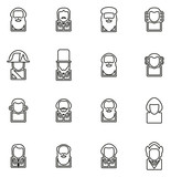 Avatar Icons Historical Figures Set 1 Thin Line Vector Illustration Set
