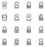 Avatar Icons Famous Scientists Thin Line Vector Illustration Set