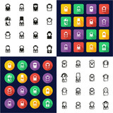 Avatar Historical Figures All in One Icons Black & White Color Flat Design Freehand Set