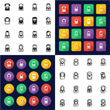 Avatar Famous Scientists All in One Icons Black & White Color Flat Design Freehand Set