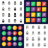 Avatar Famous Musicians All in One Icons Black & White Color Flat Design Freehand Set 2
