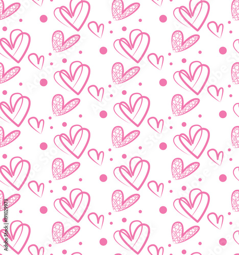 Seamless Pattern Vector Hearts