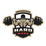 Fototapety Hard work. Bodybuilding emblem, logo