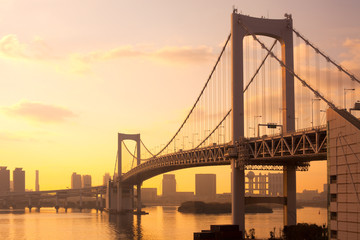 Rainbow Bridge and skyline of Odaiba, Tokyo, Kanto Region, Honshu, Japan