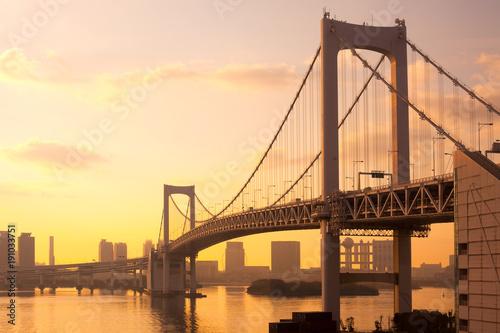 Foto op Plexiglas Tokio Rainbow Bridge and skyline of Odaiba, Tokyo, Kanto Region, Honshu, Japan