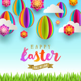 Easter greeting card - Easter greeting with glitter gold ribbon and  paper csene with eggs, flowers, clouds and grass. Vector illustration. - 191033915