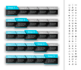 Five steps progress bar with turquoise header. Suitable for moving infographic.