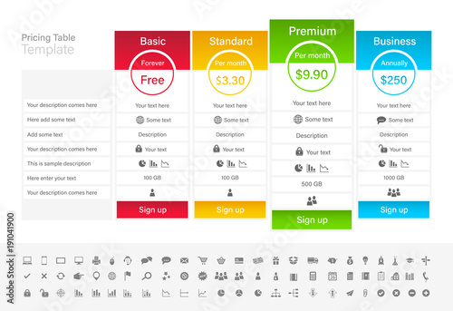 Pricing table with 4 plans and one recommended. Blue, red green and yellow header