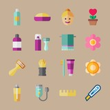 icon set about beauty with toothbrush, balm and toe separator - 191044789