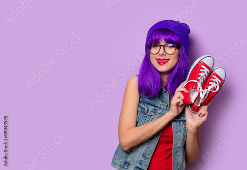 girl with purple hair and red gumshoes