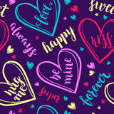 Valentine's Day Romantic seamless pattern with brush calligraphy style lettering and hearts. - 191051908