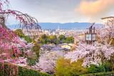 Kyoto city skyline with sakura
