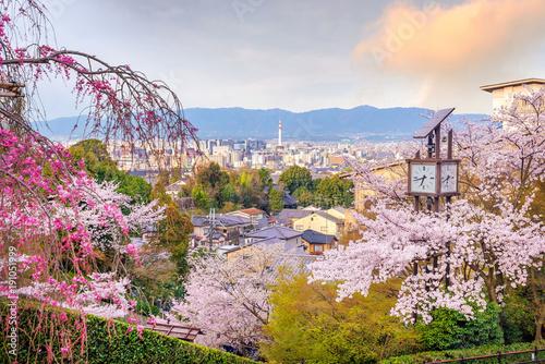 Aluminium Kyoto Kyoto city skyline with sakura