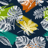 Decorative seamless pattern with ink hand-drawn Tropical leaves. Vector illustration. - 191052158