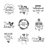 Valentines Day Typography Lettering Logo Set. Design Emblems, Quote Text With Hearts For Decorative Banners, Greeting Cards Vector Illustration - 191054943