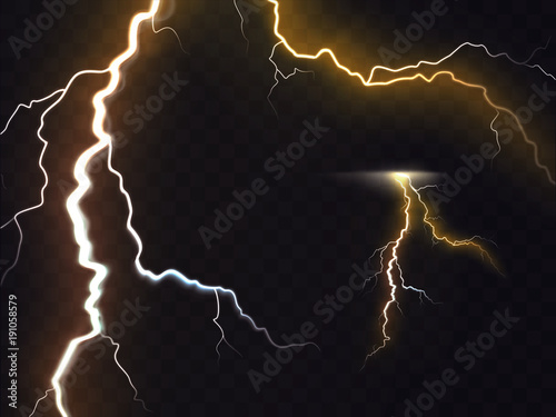 Vector Illustration Of 3d Realistic Lightning Or Thunderbolt