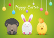 Happy easter card with easter eggs and easter bunny - 191058734
