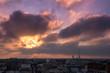 Levé de soleil sur Paris et la tour eiffel en hiver