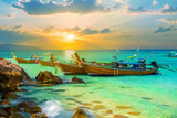 Beautiful colorful sunset over Bamboo island of Thailand. Summer holiday scene on tropical beach in Phi Phi region - 191064388
