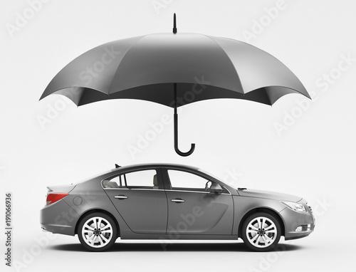 Automobile riparata da ombrello, assicurazione, nuova, render 3d