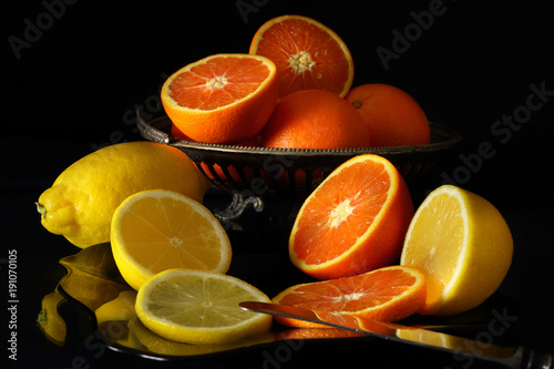 Still life with oranges and lemons in a retro style