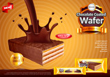 Wafer with pouring chocolate ads vector background - 191070700