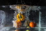 water, fruit, splash, food, orange, drop, fresh, red, healthy, bubble, splashing, tomato, vegetable, liquid, wet, nature, freshness, drink, white, strawberry, yellow, isolated, glass, aqua, pepper
