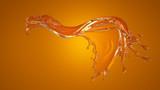 Beautiful orange background with a splash of orange juice. 3d illustration, 3d rendering.