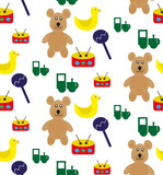 Pattern with toys: bears, trains, drum and ducks