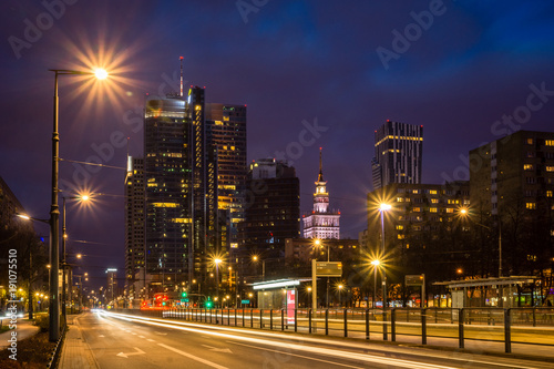 Night view on the Warsaw skyscrapers, Poland