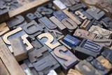 Vintage old printing letters - 191081588