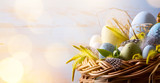 Easter background with Easter eggs in the basket - 191081768