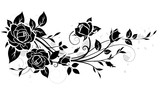 Decorative ornament with rose and leaves silhouette. Vector floral pattern