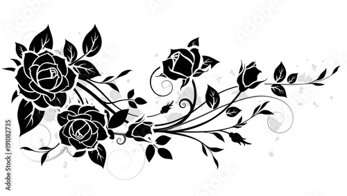 Decorative ornament with rose and leaves silhouette. Vector floral pattern - 191082735