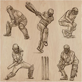 Cricket sport collection. Cricketers. An  hand drawn vector pack. - 191083195