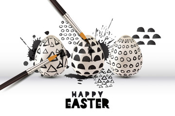 Happy Easter greeting card or poster. Painting eggs with brush, black white simple pattern. Vector holiday illustration of 3d Easter eggs on watercolor splashes background. Art and craft concept.