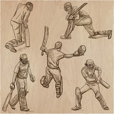 Cricket sport collection. Cricketers. An  hand drawn vector pack. - 191083310
