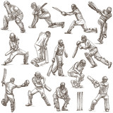 Cricket sport collection. Cricketers. Full sized hand drawings on white background. Isolated. - 191083367