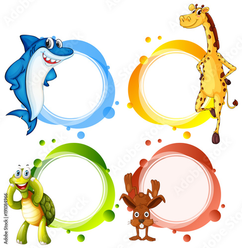 Poster Kids Banner template with wild animals