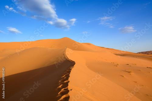 Foto op Aluminium Oranje eclat Wydmy Erg Chebbi, Sahara, Maroko