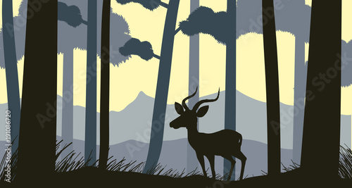 Fotobehang Zwart Background scene with silhouette gazelle in forest